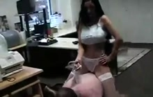 Hot brunette mistress humiliates a dirty older guy