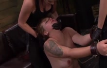 Mistresses punishing sub with strapon