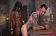Submissive guy strapon fucked by black babe