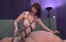 Dominating my slave with strapon