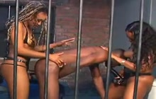 Hot Femdom Strapon Threesome In Prison Cell
