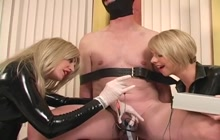 Nasty mistresses punishing their sex slaves