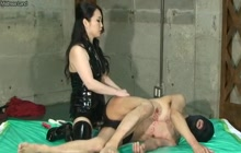 Slave fucked with strapon
