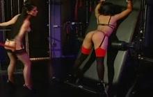 Lesbian domination with brunette slave