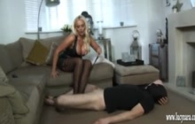 Lucy Zara kicking her slave in the nuts