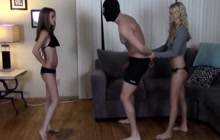2 naughty girls busting their slave's balls