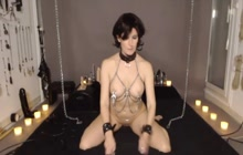 Hot bound up bondage slave Heather rides sybian