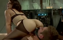 Dominant lady whipping and pegging submissive guy