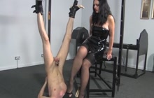 Mistress playing with a horny sub man