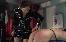 Submissive slave bound and gets whipped